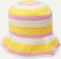Striped Crocheted Cotton Bucket Hat - Yellow
