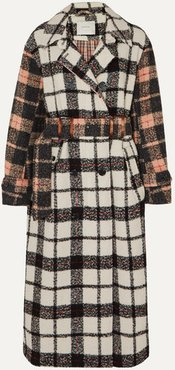 Belted Paneled Checked Bouclé Coat - Beige