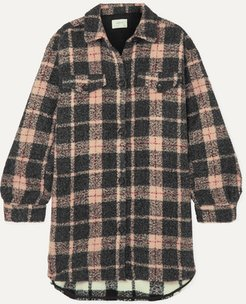 Oversized Checked Felt Jacket - Camel