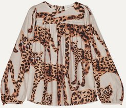 Pleated Animal-print Voile Blouse - Ecru