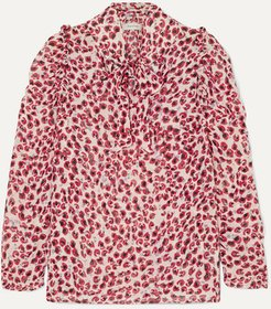 Tie-neck Ruffled Leopard-print Crepe De Chine Blouse - Red