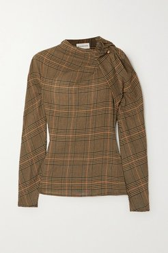 Diora Gathered Prince Of Wales Checked Crepe Blouse - Camel