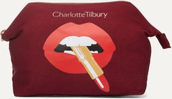 Hot Lips Printed Cotton-canvas Cosmetics Case
