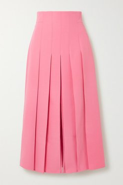 Pleated Wool-blend Midi Skirt - Pink