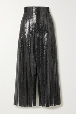 Pleated Sequined Tulle Maxi Skirt - Black
