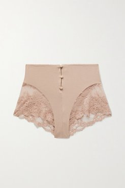 Hollie Stretch-bamboo And Lace Briefs - Antique rose