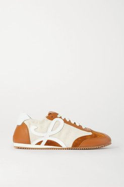 Suede, Canvas And Leather Sneakers - Beige