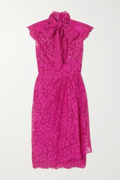 Pussy-bow Corded Cotton-blend Lace Dress - Pink