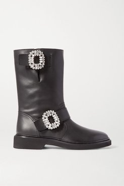 Viv Crystal-embellished Leather Boots - Black