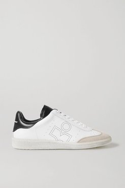 Bryce Suede-trimmed Perforated Leather Sneakers - White