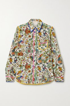 Piped Printed Silk Crepe De Chine Shirt - Ivory