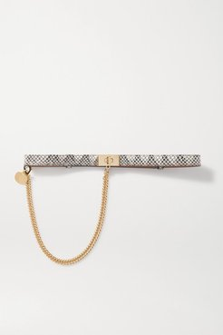 Chain-embellished Watersnake Leather Belt - Gray