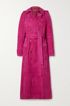 Bidwell Belted Suede Trench Coat - Magenta
