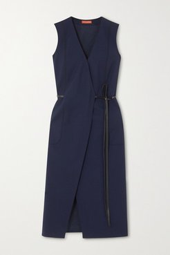 Cather Leather-trimmed Stretch-wool Wrap Midi Dress - Navy