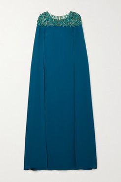 Cape-effect Embellished Tulle And Crepe Gown - Jade