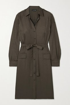 Belted Washed-twill Shirt Dress - Army green