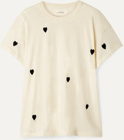 The Boxy Crew Embroidered Cotton-jersey T-shirt - Off-white