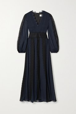 Margaret Lace-trimmed Silk-georgette Maxi Dress - Navy