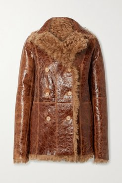 Pippa Oversized Reversible Glossed Cracked-leather And Shearling Coat - Tan