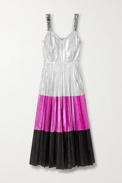 Embellished Pleated Color-block Crinkled-lamé Midi Dress - Silver