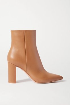 Piper 85 Leather Ankle Boots - Beige