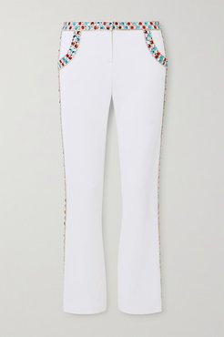 Cropped Crystal-embellished Stretch-crepe Flared Pants - White