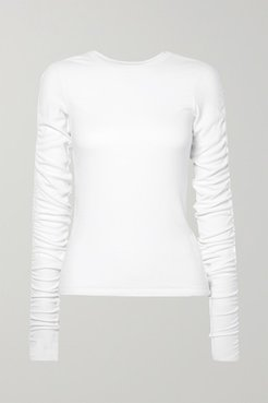 Clement Ruched Ribbed Stretch-modal Top - White