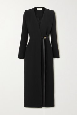 Vana Belted Silk-cady Wrap Dress - Black