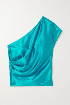 One-shoulder Draped Silk-charmeuse Top - Turquoise