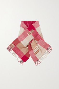 Net Sustain Fringed Padded Checked Wool And Cashmere-blend Scarf - Red