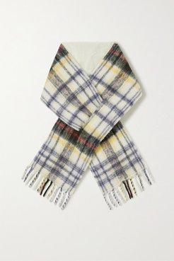 Net Sustain Fringed Padded Checked Alpaca-blend Scarf - Gray