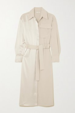 Belted Satin And Crepe Midi Dress - Off-white