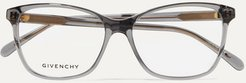 D-frame Acetate And Gold-tone Optical Glasses - Gray