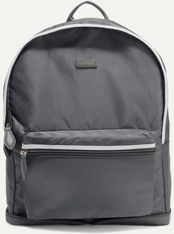 Fold-up Leather And Grosgrain-trimmed Shell Backpack - Anthracite