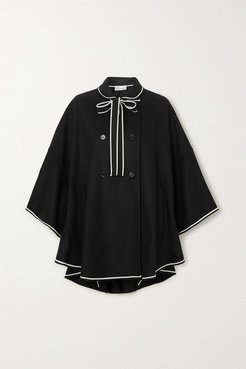 Double-breasted Piped Wool-blend Cape - Black
