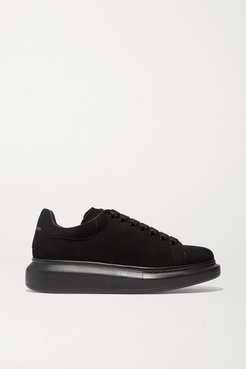 Suede Exaggerated-sole Sneakers - Black