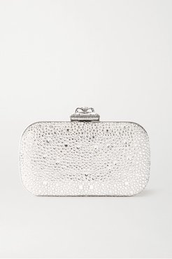 Spider Faux Pearl And Crystal-embellished Satin Clutch - Silver