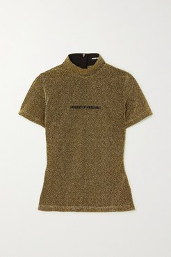 Embroidered Metallic Knitted T-shirt - Gold