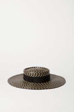 June Grosgrain-trimmed Faux Straw Hat - Black