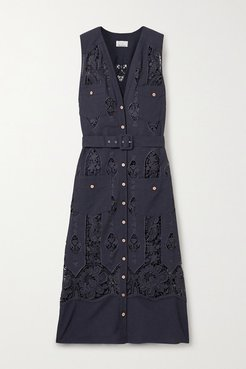 Alexia Belted Crochet-trimmed Cotton And Linen-blend Midi Dress - Midnight blue