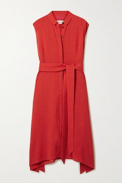 Thea Belted Voile Shirt Dress - Crimson