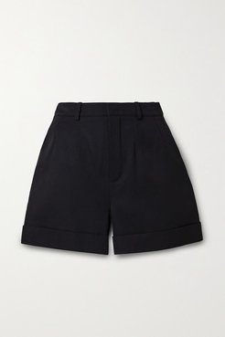 Wool-twill Shorts - Black