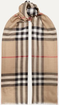 Frayed Checked Wool And Silk-blend Scarf - Beige
