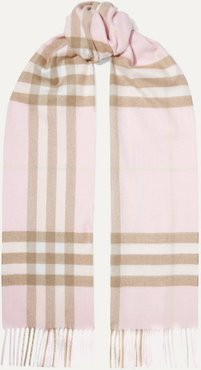 Fringed Checked Cashmere Scarf - Pastel pink