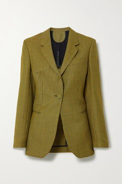 Jaffa Houndstooth Wool And Mohair-blend Blazer - Yellow