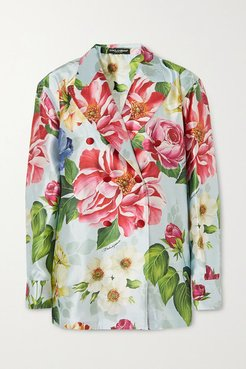 Oversized Double-breasted Floral-print Silk-satin Blazer - Blue