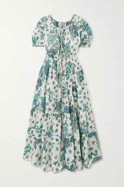 Rosemary Tiered Floral-print Cotton-voile Midi Dress - Green