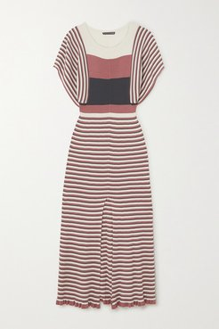 Striped Ribbed Silk And Cotton-blend Midi Dress - Pink