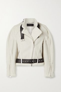 Car Seat Leather-trimmed Shearling Biker Jacket - Cream