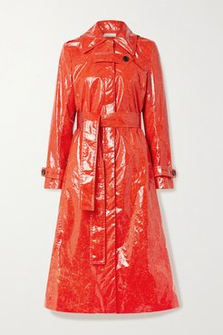 Fini Belted Pu Trench Coat - Tomato red